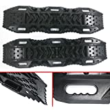 RUGCEL Recovery Traction Mat Offroad Black Tracks Sand Snow Tire Ladder 4WD Track, 2 Pack
