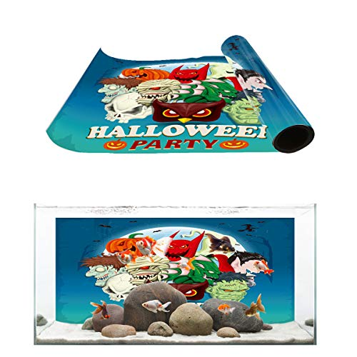 Aquarium Background Halloween Party Vintage Vampire Zombie and Pumpkin Fish Tank Wallpaper Easy to Apply and Remove PVC Sticker Pictures Poster Background Decoration 18.4