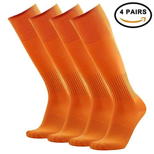 Orange Soccer Socks, 3street Unisex Prosport Performance Atheletic Knee-High Wicking Moisture Long Tube Socks for Running, Soccer, Football Back to School Socks Orange 4 Pairs
