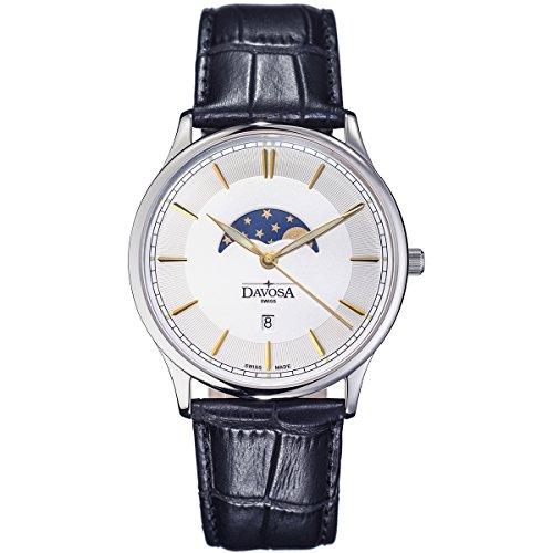 Davosa Swiss Flatline Phase Of Moon 16249635 Quartz Analog Men's Wrist Watch