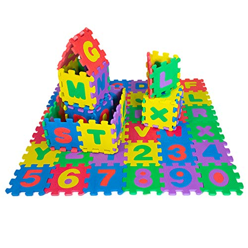 """Hanhanho ABC Puzzle Floor Play Mat for Kids - 36 Piece Multicolored Foam Letters & Numbers Carpet Tiles Toys for Babies 28"""" x 28"""" - Perfect for Helping Young Toddlers Learn Their Alphabet Early"""