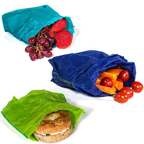 etee Organic Reusable Beeswax Sandwich Bags are Reusable, Non-Toxic, Biodegradable and Plastic-Free - Say Goodbye to Plastic (3 sandwich bags included)