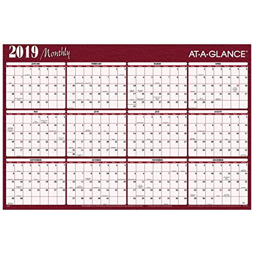 AT-A-GLANCE 2019 Yearly Wall Calendar, 48 x 32, Jumbo, Erasable, Reversible, Horizontal, Red/Blue (A152)
