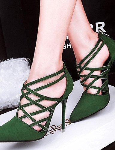 LEI&LI Zapatos de mujer - Tacón Stiletto - Tacones - Tacones - Vestido / Casual - Terciopelo - Negro / Rojo / Gris / Bermellón / Caqui , green , us6.5-7 / eu37 / uk4.5-5 / cn37