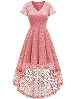 Bbonlinedress Women's Vintage Floral Lace Hi-Lo Cap Sleeve Formal Cocktail Prom Party Dress