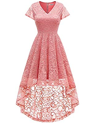 Bbonlinedress Women's Vintage Floral Lace Hi-Lo Cap Sleeve Formal Cocktail Prom Party Dress