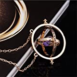 Harry Potter Gold Time Turner Hermione Granger Rotating Hourglass Necklace by KalematStore (Purple Sand) with Gift Box