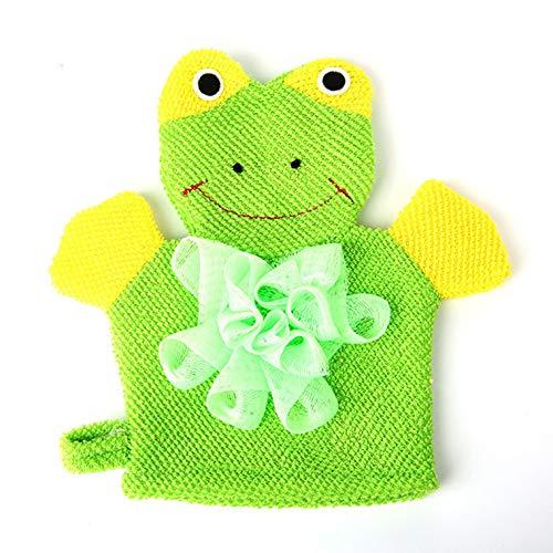 GYPO Súper Suave baño de algodón Cepillo de Ducha de Dibujos Animados Guantes de Ducha de Rana depurador Guantes de baño para niños niños (Verde)