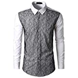kaifongfu Shirt,Autumn Men's Long Sleeve Lace Ptchwork Shirts Top Blouse(White,M)