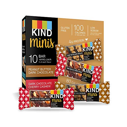 (KIND Bar Mini's, Peanut Butter Dark Chocolate/Dark Chocolate Cherry Cashew, Gluten Free, 100 Calories, Low Sugar, 60 Count )