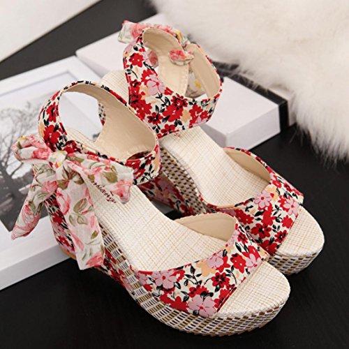 bescita Frauen Mode Sommer Hang mit Flip Flops Sandalen Slipper Schuhe (35, Rot)