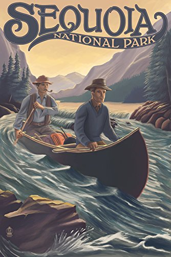 (Sequoia National Park - Canoe in Rapids (16x24 SIGNED Print Master Giclee Print w/Certificate of Authenticity - Wall Decor Travel Poster))