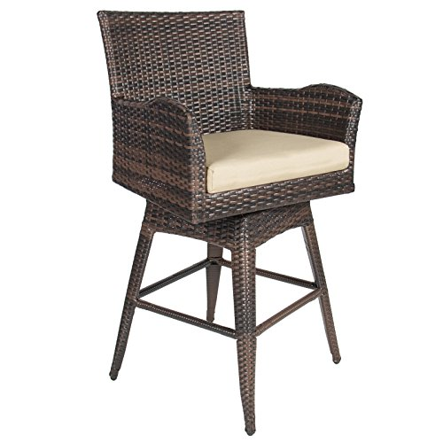 LTL Shop Patio Furniture Brown PE Wicker Swivel Bar Stool w/ Cushion Outdoor (Walmart Wicker Hampers)