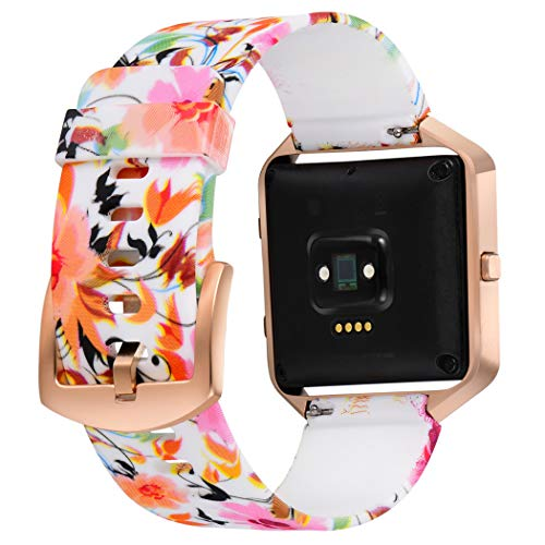 Aiseve Fitbit Blaze Floral Bands Women, Replacement Wristbands Strap with Rose Gold Frame Buckle for Fitbit Blaze Smartwatch Small Large (Warm Tone, Small)