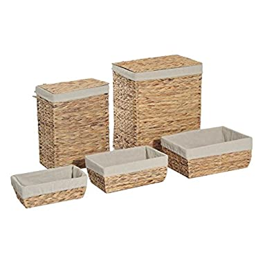 HomCom 5 Piece Set Rectangle Hand Woven Laundry Baskets With Removable Liners and Lids