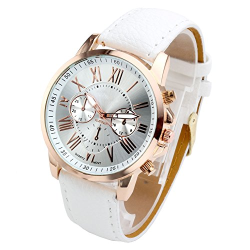 Top Plaza Fashion Women's Analog Watch, PU Leather Band Rose Gold Tone - -