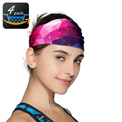 Sports Yoga Headbands For Women-4 Pack Wide Printing Elasticity Non-slip Workout Headband Girls – DiZiSports Store