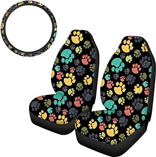 FOR U DESIGNS 3 Piece Universal Fits Most Cars Seat Cover Steering Wheel Protect Covers Sunflower Black Design Vehicle Accessory for Women Gift