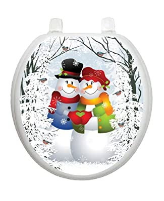 Snow Couple Christmas Toilet Tattoo TT-X629-R Round Winter Holiday