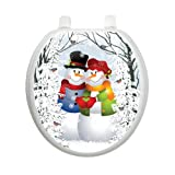 Snow Couple Christmas Toilet Tattoo TT-X629-R Round Winter Holiday