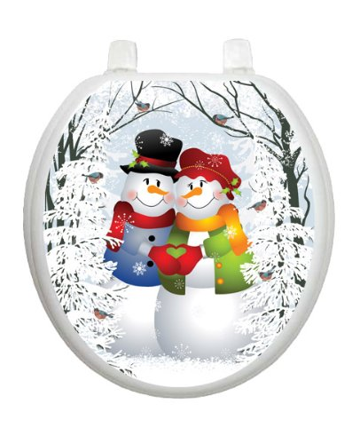 Snow Couple Christmas Toilet Tattoo TT-X629-R Round Winter Holiday by Toilet Tattoo