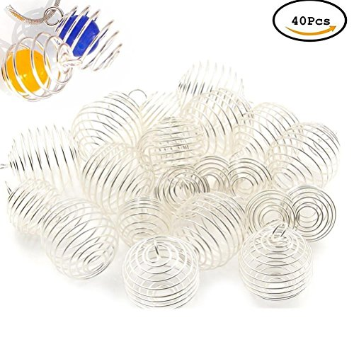 Jewelry Boxes Silver Charm Pendant (CosCosX 40Pcs Iron Spiral Bead Cages Wrap-around Round Bead Cage Box Holder for Pendants Jewelry Making Findings Accessories,Silver,2 Sizes)