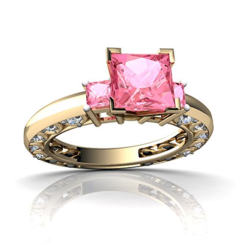 14kt-Gold-Lab-Pink-Sapphire-and-Diamond-3mm-Square-Art-Deco-Ring
