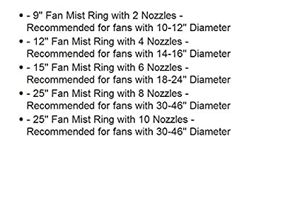 Misting Fan Kit - Low Pressure - for Outdoor Cooling - Pre- Assembled Fan Kit, Simply unpack and Attach - Brass/Stainless Steel Nozzles