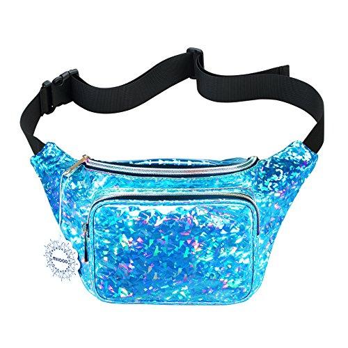 Shiny Neon Fanny Bag for Women Rave Festival Hologram Bum Travel Waist Pack (Starry Light Blue)