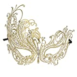 Coxeer Gold Elegant Lady Masquerade Halloween Mardi Gras Party Mask