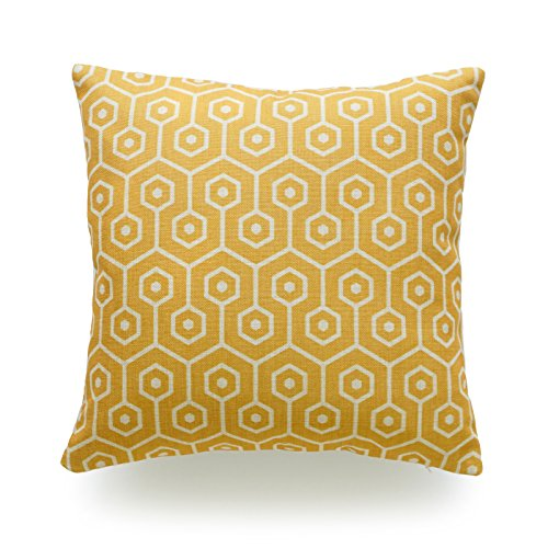 Hofdeco Decorative Throw Pillow Cover HEAVY WEIGHT Cotton Linen Mustard Yellow Geometric Hexagon Honeycomb 18