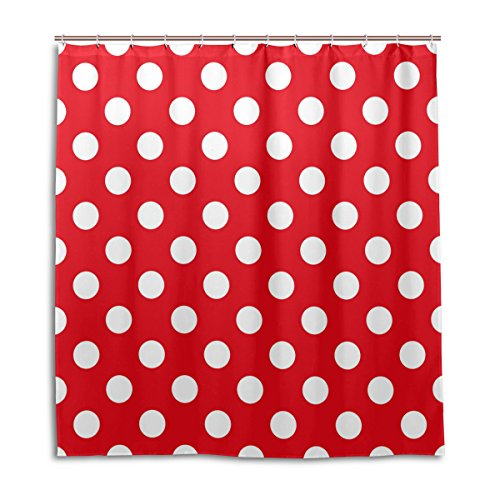 ALAZA Classic Red And White Polka Dot Shower Curtain 72 x 72 Inch, Mildew Resistant & Waterproof Polyester Decoration Bathroom Curtain