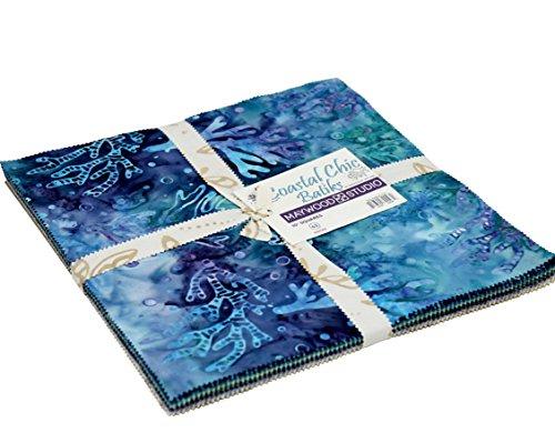 Swirl Fabric Quilt Squares - Coastal Chic Batiks 10-inch Precut Squares Cotton Fabric Quilting Assortment Layer Cake Maywood Studio