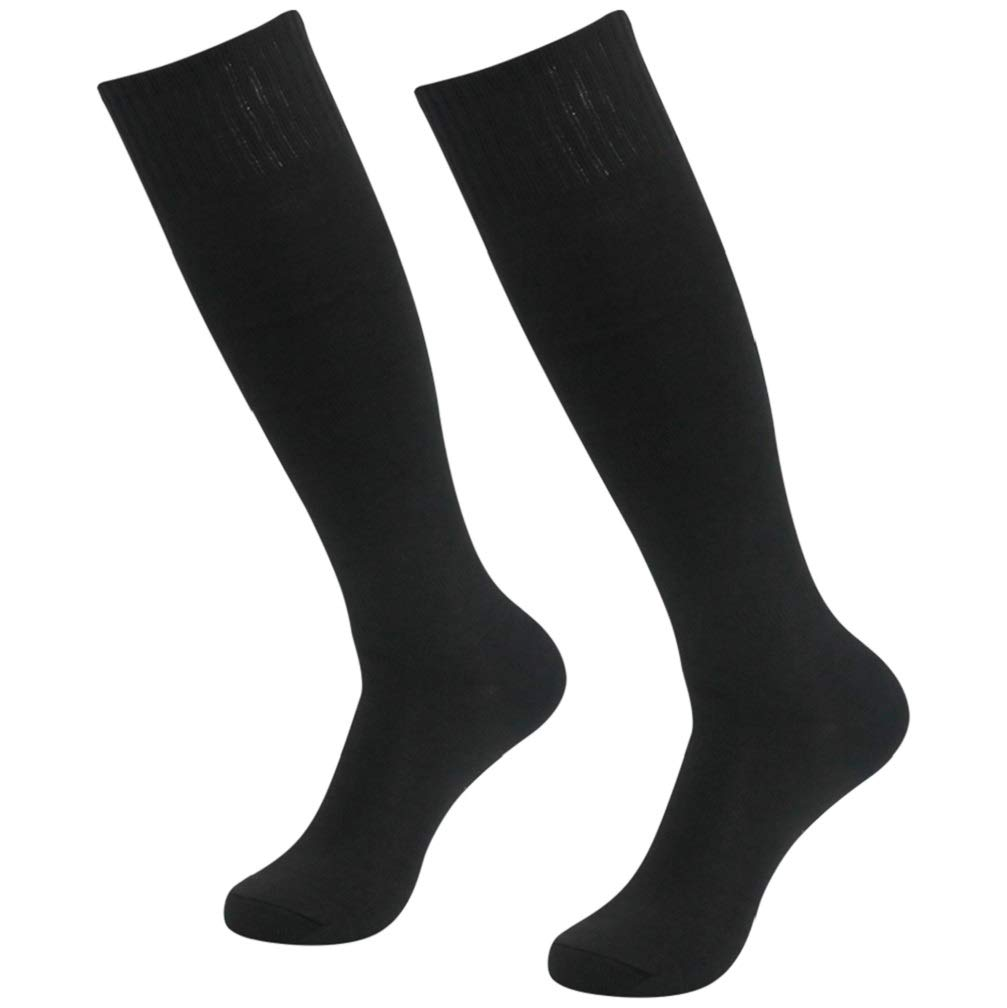 Soccer Tube Socks for Youth, Getspor Unisex Over Knee High Sport Football Soccer Softball Team Socks Black 2 Pairs