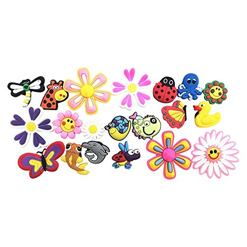 20 Butterfly Dragonfly Ladybug Flying Animals Fish BIG Flowers Charms for Fits Croc Shoes & Wristband Bracelet by Shoe Charmers