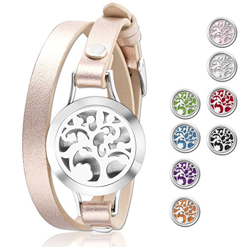 Christmas Gifts - Essential Oil Diffuser Bracelet,Stainless Steel Aromatherapy Locket Bracelets Leather Band with 8 Color Pads,Girls Women Jewelry Gift Set