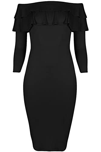 Fashion Star – Vestito – Maniche lunghe – Donna nero Black