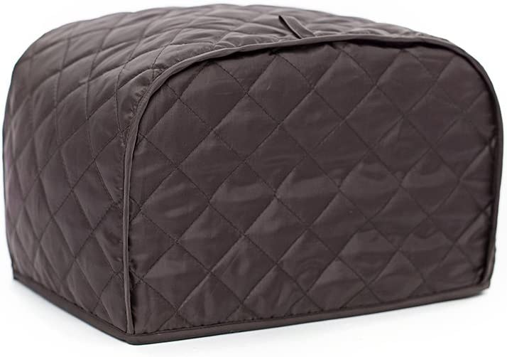 Toaster Cover, Polyester/Cotton Quilted Two Slice Toaster Appliance Cover,Dust and Fingerprint Protection, Machine Washable-2 YR Warranty (11W x 8D x 8H, Bronze Polyester)