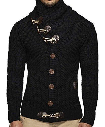 Runcati Mens Sweaters Casual Turtleneck Cable Knit Button Down Cardigans Coat (Large, ()