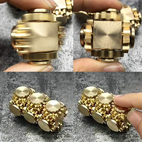 Amperer Pure Brass Fidget Block Fidget Cube Gears Linkage Cubes Ultra Durable Mechanics Romoveable EDC Toy (Brass) by Amperer (Image #2)