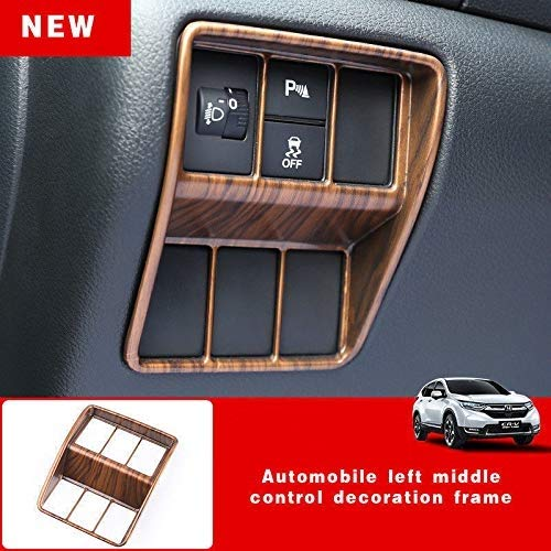 - For Honda CRV CR-V 2017 2018 2019 ABS Peach Wood Grain Head Light Switch Frame Cover Trim