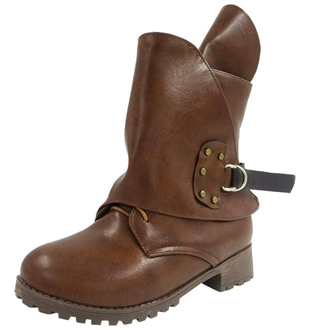 Toamen Botines De Mujer con Cordones Cuero Caballero Martin Botas CinturóN Hebilla Zapatos Bota: Amazon.es: Ropa y accesorios