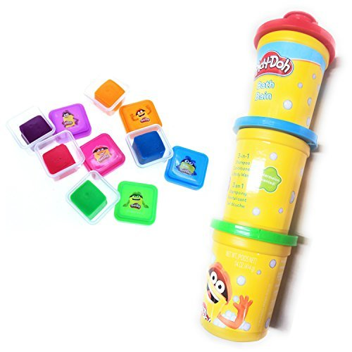 Play Doh Bath Soap For Kids 5 Colors Of Moldable Soap And 3 in 1 Bath Shampoo, Conditioner, and Body Wash Bundle