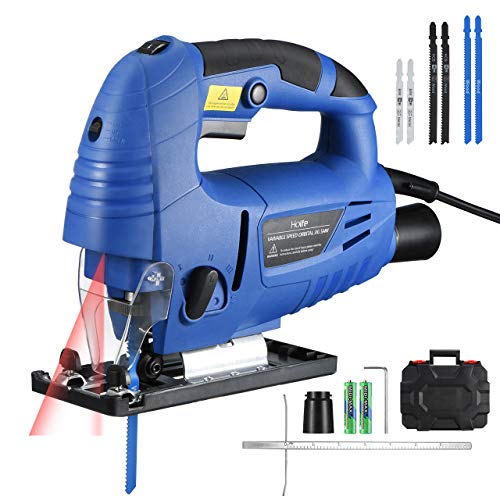 Jigsaw, Holife 6.5Amp 3000SPM Jig saw with Laser Guide, LED Light, Variable Speed, Accessories including 6PCS Jigsaw Blades, Guider Ruler, Allen Wrench in Carrying Case