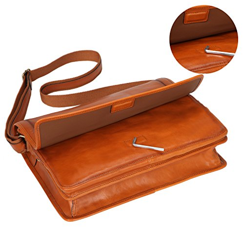 Banuce Vintage Leather Messenger Bag for Men 14 Laptop Business Crossbody Shoulder Satchel Bag by Banuce (Image #3)