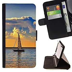 For Samsung Galaxy S4 IV I9500 Nature Lonely Boat Beautiful Print Wallet Leather Case Cover With Credit Card Slots And Stand Function