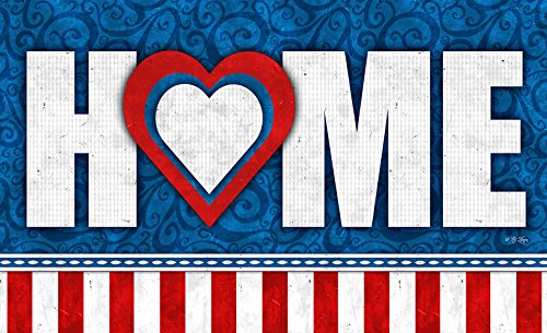 Toland Home Garden Heart of the Home Patriotic USA America Design Doormnat