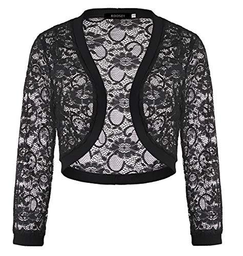 ROOSEY Lace Shrug Sweaters for Women Floral Bolero Crochet 3/4 Sleeve for Wedding Dress (Black,XXL)