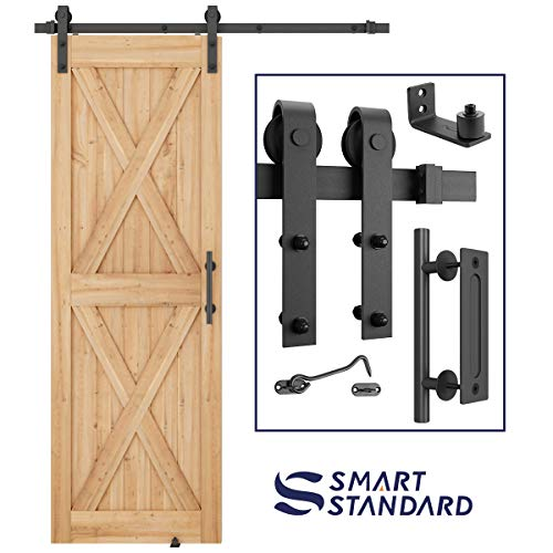 SMARTSTANDARD 5FT Heavy Duty Sturdy Sliding Barn Door Hardware Kit Double Track Rail, Super Smoothly and Quietly, Simple and Easy to Install Fit 30