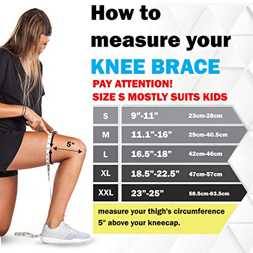 POWERLIX Knee Brace Support - Best Compression Sleeve for Men & Women for Pain Relief- Superior Braces for Meniscus Tear & Arthritis, Please Refer to The Sizing Chart